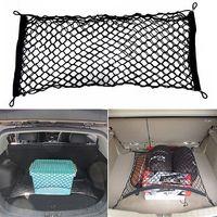 red de almacenamiento para maletero al por mayor-Grande Elástico Car Cargo Tidy Net Storage 4 Ganchos Fixing Point Boot estable Net SUV BUS Carro Tronco Organizador Soft Nylon Net LJJM36