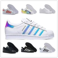 eva cabeça venda por atacado-Adidas superstar multi-color white shoes gold standard shell shoes three bars laser Adi clover shell head men and women sports running shoes