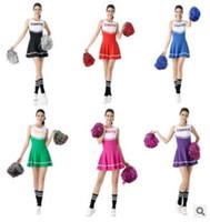 trajes cheerleading venda por atacado-Líderes de torcida de moça cheerleading trajes trajes de futebol bebê cheerleaders escola trajes