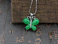 зеленый нефритовый бриллиант подвеска оптовых-Природный нефрит зеленый Малайский нефрит бабочка Алмаз кулон Изумруд Изумруд мозаика кулон серебряная цепь