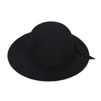 chapéu cloche crianças venda por atacado-Crianças elegantes Meninas Wide Brim Retro Feltro Bowler Cap Floppy Cloche Hat-preto