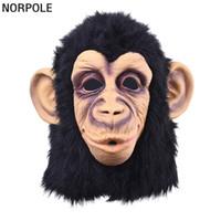 disfraz de mono de halloween de lujo adulto al por mayor-Super Encantador Máscara de Látex de Cabeza de Mono Cara Completa Máscara Adulta Disfraces de Halloween Fiesta de Disfraces Cosplay Lindo Animal Máscara