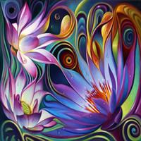 basılı nakış kitleri toptan satış-İğne Diy Daimond Boyama Çapraz Dikiş Çiçek mozaik kiti Elmas Nakış Çiçek Baskı Matkap Ev Dekor fantasy 5D