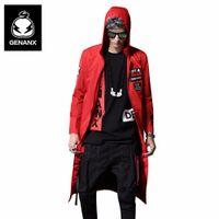 ropa coreana xxl al por mayor-Genanx marca cinturón de impresión negro abrigo largo más tamaño trinchera de los hombres Hip Hop streetwear ropa de moda coreana hombre Szie M-XXL