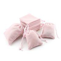 artesanías de terciopelo al por mayor-Bolsas de regalo de joyería de terciopelo rosa con cordón Cordón de la joyería a prueba de polvo Almacenamiento de cosméticos artesanales Bolsas de empaquetado para la tienda de Boutique Boutique