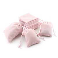 kordelbeutel rosa groihandel-Pink Velvet Jewelry Geschenktüten mit Kordelzug Staubdicht Schmuck Cosmetic Storage Crafts Verpackung Beutel für Boutique Retail Shop