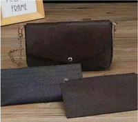 ingrosso borse di marca cinesi-2018 Fashion Genuine Leather Women Clutch Handbag Brand Designer 3 pezzi Set Pochette Cina Corpo trasversale con inserti a tracolla