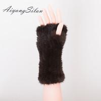 Wholesale Long Arm Gloves Ladies - AiyangSilan Women Winter Fur Gloves Ladies Warm Real Fur Windproof Ladies Girl Solid Gloves Arm Warmer Long Knitting
