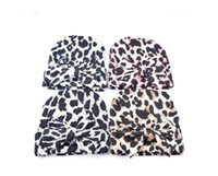 Wholesale crochet baby hats for newborns resale online - Classic Print Leopard Knitted Cotton Hat Beanies With Bow Crochet Korean Style Winter Warm Caps For Newborn Toddler Baby