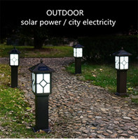 Wholesale Chinese Garden Lamps - 2018 new solar lamp led lawn light custom made postal kiosk Chinese Pavilion diamond outdoor light control induction garden villa lights