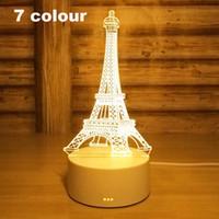 led eiffel kuleleri toptan satış-3D Led Gece Işık Değişimi Yenilik Masa Lambası Ev Dekor Başucu 3d Lamba Çocuk Hediyeler 2018 Yeni 7 Renk Eyfel Kulesi