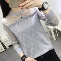 womens beige long sleeve shirt Australia - Autumn 2018 Womens Tops and Blouses Long Sleeve Knitted Lace Patchwork Blouse Women Shirts Ladies Tops Casual Blusa Feminina