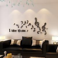 dekoration musikanmerkungen großhandel-Ich mag Musik Noten Design Acryl Wandaufkleber für Wohnzimmer Schule Dekorationen schwarz oder rot Aufkleber