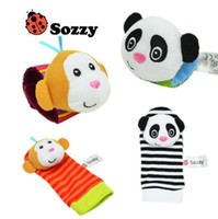 Wholesale kids cartoon socks for sale - Group buy 6 Styles set Baby Rattle Toys Zebra Plush Wrist Toys Kids Cute Foot Socks Cartoon Animal Wristband Baby Birthday Gifts CCA10118 set