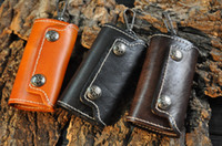 Wholesale Car Key Card Case - Minimalist Handmade Portable 6 Clips Genuine Cowhide Leather Car Keychain Key Credit Cards Holder Pouch Bag Case Wallet Cover Free DHL H25F
