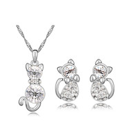 Wholesale set make earrings for sale - Group buy Cat Jewelry Set Made with Swarovski Elements Crystal White Gold Color Fashion Animal Shaped Necklace and Stud Earrings for Girls