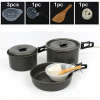 Wholesale cook kit - Camping Cookware Set Lightweight Compact Durable Outdoor Cooking Mess Kit Backpacking Gear for Hiking Picnic Pot Pan Bowls Cookset H227Q