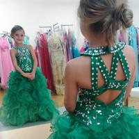 nuas little girl vestidos venda por atacado-Bonito verde meninas pageant vestidos glizta cupcake vestidos de lantejoulas frisada puffy saia da criança meninas pageant vestidos para little kids evening