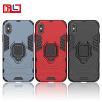étuis iphone 3d homme achat en gros de-2 en 1 Aimant Pour iPhone X Cas PC + Silicone Iron Man Antichoc 3D Shield Case Pour iPhone X Béquille Couverture