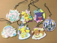 correa de pikachu al por mayor-35 unids / lote Original anime japonés Pikachu figura de goma silicona olor dulce teléfono móvil encantos llavero correa