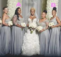 iki tane bir gelinlik kollu toptan satış-Onur Elbise Boncuklu Pullarda Afrika Artı boyutu Gelinlik Modelleri Uzun Kollu Tek Omuz hizmetçi İki Stiller Düğün Elbise
