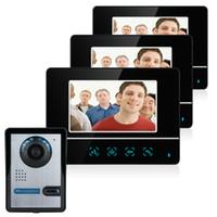 дверной звонок с сенсорным экраном оптовых-7 Inch TFT Touch Screen Color LCD Video Door Phone Wired Video Intercom 3 Monitor Doorbell Intercom system