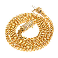 Wholesale wheat chain filled resale online - 6mm Stainless Steel Wheat Chain Gold Silver Plated cm Long Franco Chain Necklace Men s Jewelry Luxury Rhinestone Box Clasp