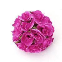 ingrosso fiore artificiale rosa rosa rosa-VENDITA CALDA! Fiore artificiale Rose Ball per la decorazione domestica di nozze - rosa