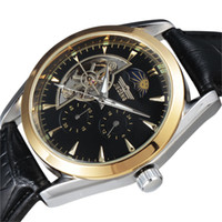 24 dial reloj al por mayor-2016 Top Brand Moda Hombre Fase Lunar 24 Horas / 60 Min. Sub-Dial Correa de Cuero Mecánico Automático Reloj de Pulsera para Hombre
