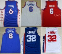 Wholesale Hockey Jerseys Sizes - Retro 6 Dr J Julius Erving Jersey Men Throwback 32 Julius Erving Jerseys For Sport Fans Team Red Blue White Stitched With Name Size 44-5