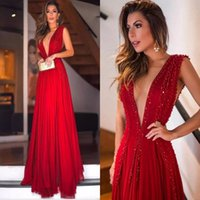Wholesale size 28w special occasion dresses - Red Prom Dresses Sexy Deep V Neck Chiffon Beading Sequins Special Occasion Dresses Evening Wear A Line Long Cocktail party Gowns Sleeveless