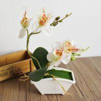 ingrosso piante di foglie piccole-piccola pianta bonsai farfalla artificiale fiore orchidea set con vero tocco foglie piante floreali complessivi per matrimonio