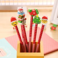 Wholesale eraser christmas resale online - Cute Children s Cartoon Pencil With Christmas Santa Claus Eraser Wood Ball Point Pen Children s Toys Xmas Toy Free DHL