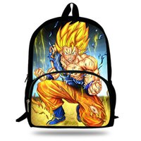 druck kinder junge rucksäcke taschen pu großhandel-16-Zoll-Kinder-Cartoon-Schultasche Dragon Ball Print Bag Son Goku Rucksack für Kinder Jungen Mädchen