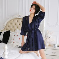 Loose Women Silk Night Gown Set Solid Bathrobe and Mini Night Dress Summer Sleep  Wear for Women Set Lingeries 27212978d