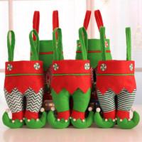 Wholesale luminous pants - Christmas Pants Candy Bag 6 Styles Nonwovens Elf Stocking Christmas Xmas Santa Gift Bags Christmas Decorations OOA5390