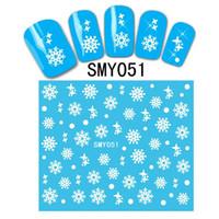 unhas de xmas venda por atacado-Meninas Mulheres 12 Folha / set Natal Do Floco De Neve 3D Nail Art Nail Stickers Decalque Dicas Branco Xmas Rena Árvore Etiqueta Da Flor