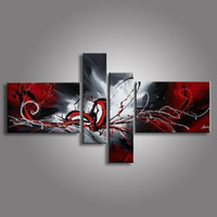 kanvas yağlıboya siyah kırmızı toptan satış-Tuval üzerine yağlıboya kırmızı siyah beyaz ev dekorasyon Modern soyut Yağlıboya duvar XD4-019