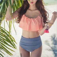 Wholesale two piece swimsuits high waist - High Waist Bikini 2018 Flounced Swimwear Women Two Piece Swimsuit Striped Bathing Suits Crop Top Biquini Push Up Swim Beach Wear