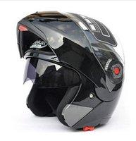 motosiklet kaskı için siper toptan satış-Ücretsiz kargo! Güvenli Flip Up Motosiklet Kask moto kask motokros motosikletSun Visor JIEKAI-105 DOT ECE