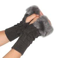 mão de tricô venda por atacado-As luvas Fingerless internas da meia mão da malha da pele do falso do inverno das mulheres engrossam o Mitten