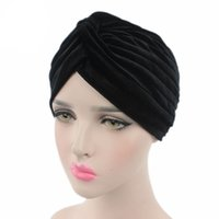 Wholesale cancer beanies resale online - Fashion Pleated Stretch Ruffle Women s Velvet Beanie Chemo Turban Hat Wrap Cover Headwear for Cancer Patients