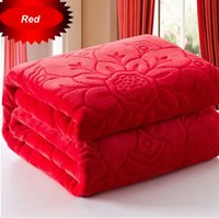 Wholesale cheap queen beds online - Cheap Pure Printed Floral Blanket Thick Coral Fleece Throw on Bed air travel for Queen Size x230cm