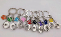 Wholesale enamel metal ring - Enamel Dog Cat Paw Prints 18mm Snaps Button Keychain Charm Key Chain For Keys Car Key Ring Souvenir Couple Handbag Key Chain A30