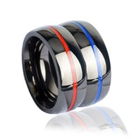 Wholesale Wholesale Firefighter - Hip hop Mens firefighter Ring Stainless Steel Thin blue line Ring Top Quality red line rings Fashion Charm Jewelry ring men Free Shipping