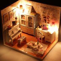 Wholesale build wooden house online - 3D Mini Puzzle DIY Handmade Furniture Miniature Dollhouse Building Model Home Decoration DIY Miniature Model Kit Wooden House