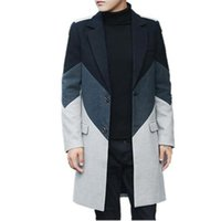 ingrosso cappotti invernali britannici-2017 nuovo inverno moda stile britannico patchwork colore-bloccato slim fit monopetto addensare lana lungo cappotto uomini