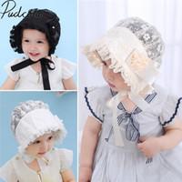 güneş marka dantel toptan satış-2018 Yepyeni Sevimli Toddlers Bebek Bebek Kız Çiçek Prenses Güneş şapka Kap Yaz Dantel Şapka Kaput Ruffled Dantel Çiçek Caps 3-18 M