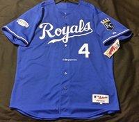 Wholesale 4xl tall - Majestic Cheap KANSAS CITY #4 BLUE ALEX GORDON ON FIELD Jersey Mens Stitched Wholesale Big And Tall SIZE XS-6XL baseball jerseys