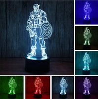 Wholesale color changing baby night light - Novelty 3D Super Hero Captain America Color Changing RGB Gradient LED Night Light Atmosphere Illusion Bedroom Lamp Child Kids Baby Toy Gifts